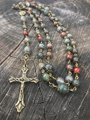 Catholic Rosary ~ Bloodstone Rosary ~ Natural African Bloodstone Beads ~ Traditional 5 Decade