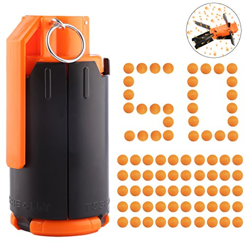 FenglinTech Tactical Plastic Modified Crystal Water Bullet Bomb with 50PCS Rounds Refill Bullet Balls Ammo - (Orange)