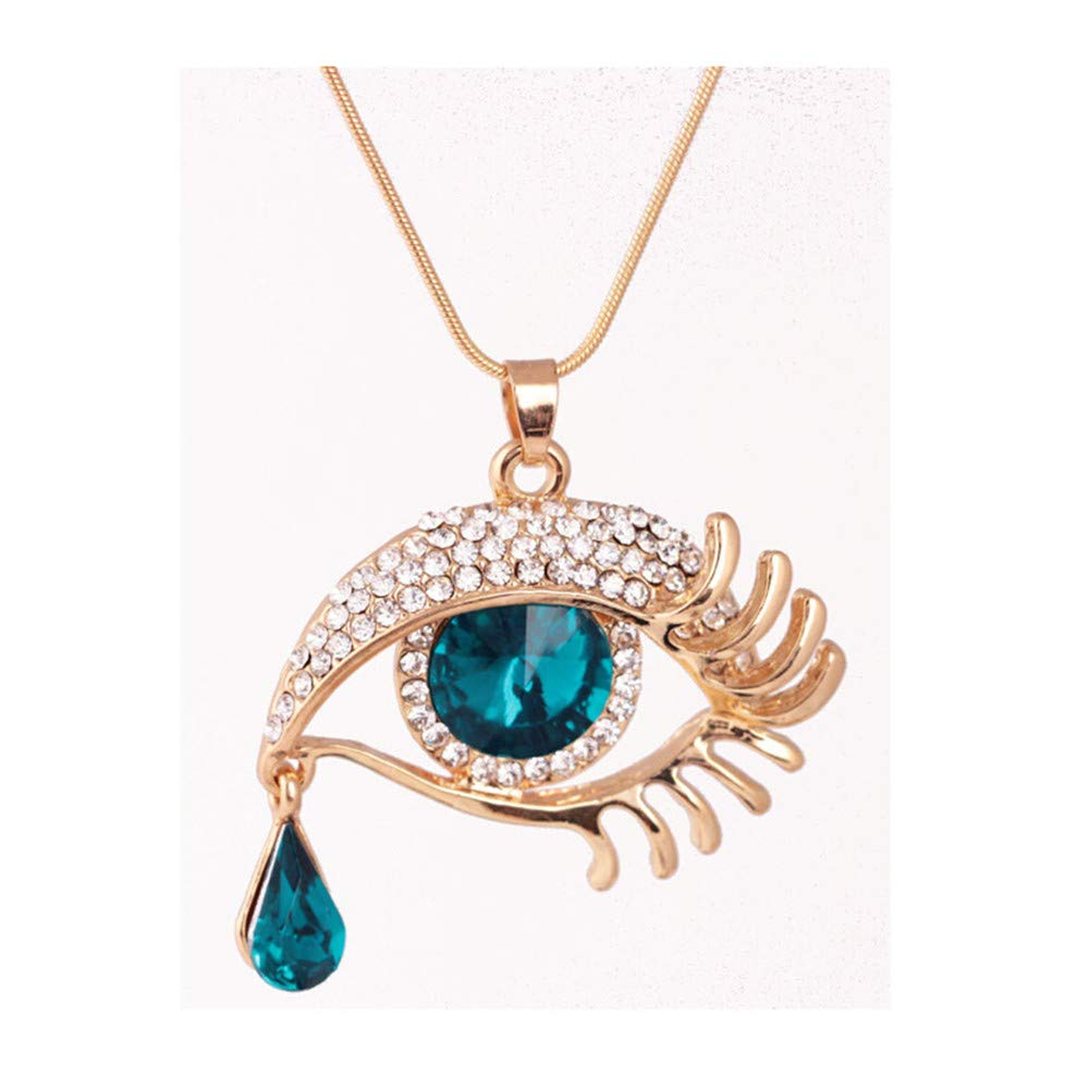 Snowfoller Magic Eye Crystal Sweater Pendant Chain Fashion Tear Drop Eyelashes Charm Long Necklace Jewelry Gift for Women Girls (Blue)