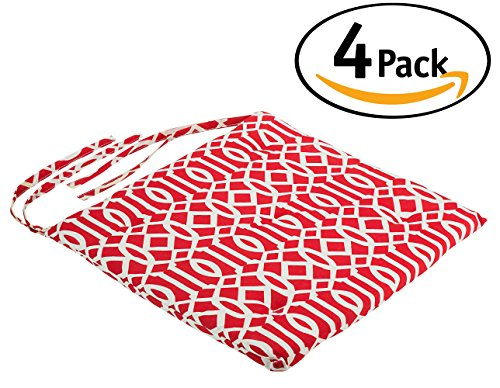 DecorRack 4 Seat Cushion Pads 100% Cotton Cover with Ties, Ideal Chair Pad for Indoor Use, Reversible Square Kitchen Seat Cover Chair Pillows, Modern Red White Design 1 inch Lightweight (4 Thick Cushion)