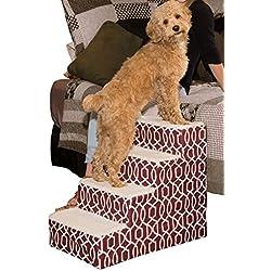 Pet Gear Soft Step IV Pet Stairs, 4-Step for Petsup to 50 lb, Trellis Print Dark Cranberry