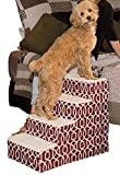 Pet Gear Soft Step IV Pet Stairs, 4-Step for Petsup to 50 lb, Trellis Print Dark Cranberry