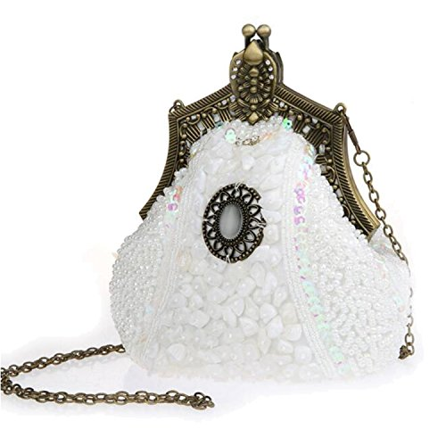 Clutch Handbags Party Bags White EPLAZA Beaded Purse Sequin Evening Retro Women Satin Rhinestone BFqW6TR