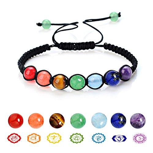7 Chakra Natural Stone Yoga Bracelet Handmade Braided Rope Healing Energy Beads Bracelet (6mm 7 Beads) - Colorful Bead Bracelet