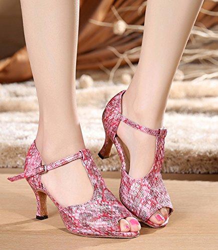 Tda Femmes Classique T-strap Impression Synthétique Salsa Tango Samba Rumba Chaussures De Danse Latine Moderne Rose-7.5cm Talon