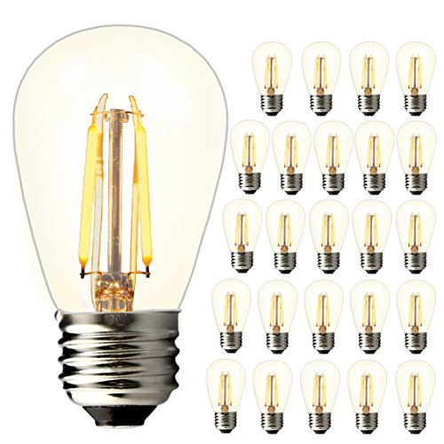 Replace Incandescent Led - BRIMAX - (25PACK) - S14 LED Outdoor Edison Light Bulbs for Patio String Light Bulbs Replacement, E26 Medium Screw Base, Dimmable, 2700K, 2W to Replace 11w/15w/20w Incandescent Bulb, Energy Efficient