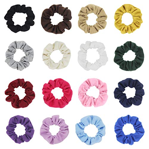Pack of 16 Cotton Hair Scrunchies Single Jersey Solid Color Ponytail Holders Hair Ties for Girl (16 colors)