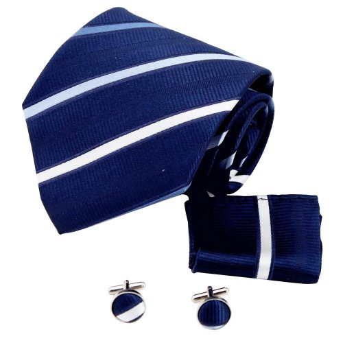 Blue Stripes Woven Silk Tie - 6