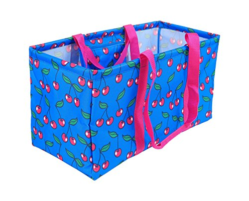 POPTIMISM Extra Large Structured Storage Reusable Tote Bag, Collapsible Grocery Shopping Basket, also perfect to carry beach or picnic stuff - Cherry Pattern 21.5