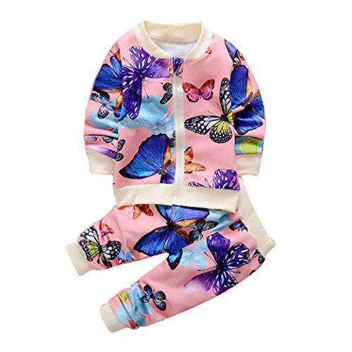 Baby Toddler Girl Kids Autumn Winter Outfit Clothes Butterfly Print Long Sleeve Coat Cardigan Tops+Pants Set 1-5Y (3-4 Years Old, Pink)