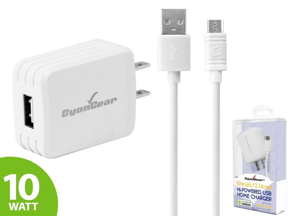 10 Watt Wall AC Charger With Data Cable White For Samsung Jitterbug Plus