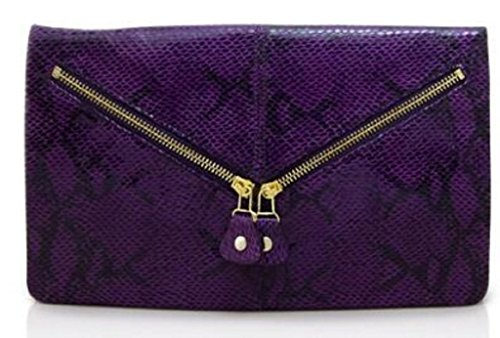 Lush Leather Python Snakeskin Printed Disco Purple Zippered Envelope Clutch
