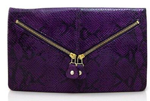 (Lush Leather Python Snakeskin Printed Disco Purple Zippered Envelope Clutch)