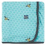 Kickee Pants Print Swaddling Blanket, Glacier Honeycomb