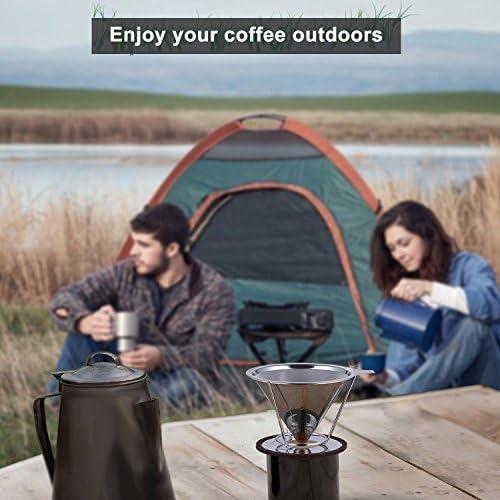 casadeiy cafetera eléctrica de goteo de acero inoxidable cafetera dripper- Bono Tubo Cepillo y Cuchara para medir café – reutilizable doble malla fina: Amazon.es: Hogar