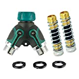 Metalwork 2 Ways Y Hose Splitter with 3/4'' Connector Full Plastic Body for Outdoor Faucet Sprinkler and Drip Systems of Ball Valve (1 Y Hose Splitter+ 2 Kink-Free Hose Saver)