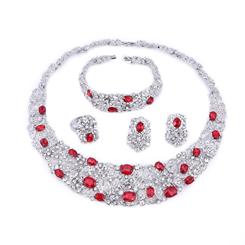 (OUHE Red Crystal Chain Necklace Ring Bracelet Jewelry Set Costume Show Wedding Silver Plated)