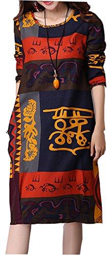 ELLAZHU Femme Fashion Neuf Couleur-Block Manche Longue Loose Robe SJ44