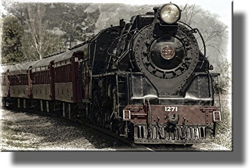 Antique Framed Print (Train Locomotive Picture on Stretched Canvas, Wall Art Décor, Ready to Hang!)