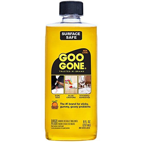 Goo Gone Original Líquido - 8 onzas - Removedor de adhesivo seguro de superficie Elimina de forma segura Pegatinas Etiquetas Calcomanías Residuos Cinta Masticable Grasa Alquitrán