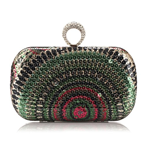 Handbag Party Purse Blue Prom Dabixx Green Evening Bag Shimmering Sequined Bead Clutch Bridal qwqSY0gvxP