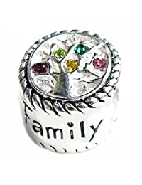 Queenberry Mother's day Gift Sterling Silver Family Tree Of Love Pink Rose Yellow Green Bead For European Chamilia Biagi Troll Pandora Charm Bracelets
