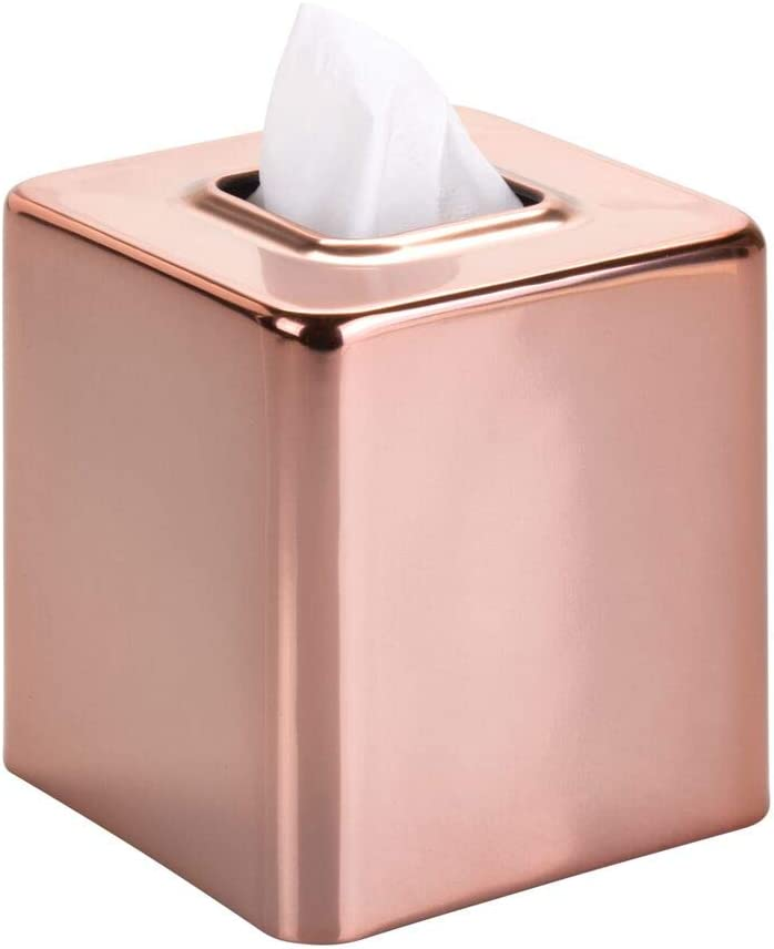 mDesign Modern Square Metal Paper Facial Tissue Box Cover Holder for Bathroom Vanity Countertops, Bedroom Dressers, Night Stands, Desks and Tables - Rose Gold: Home & Kitchen