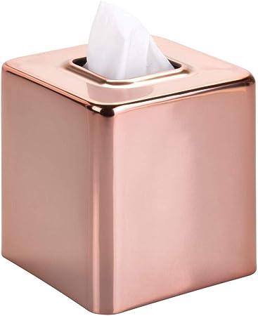 mDesign Fundas para cajas de pañuelos de metal – Práctico dispensador de pañuelos para el baño o la oficina – Modernas cajas para pañuelos de papel ideales como fundas – dorado rojizo: