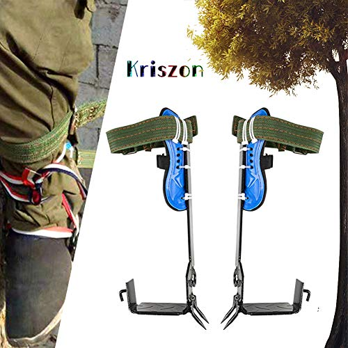 Tree Climbing Spike,Gear Tree Climbing Spike Set,Pole Climbing Trees Artifact,Safety Belt Adjustable Lanyard Rope Rescue Belt,Tree Climbing Hook Typical Tool for Hunting Observation, Picking Fruit