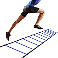 D&Q Agility Ladder, Training Ladders Speed Training Set with Carrying Bag 12-Rung Adjustable Jumping Step Rope Exercise, Blue