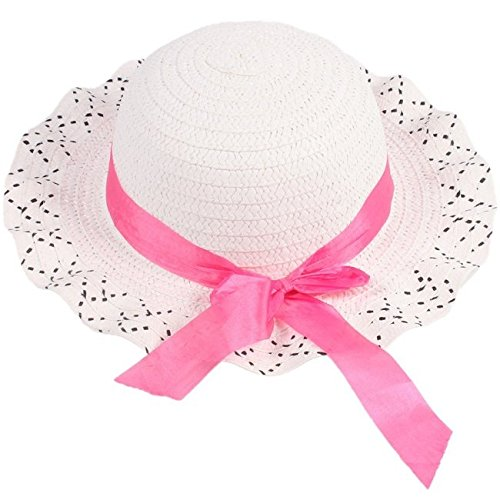 Sun Straw Hat Kids Girls Baby Lace Node Brim Summer Beach Cap White