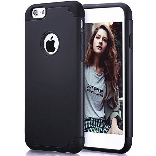 iPhone 6S Case, iPhone 6 Case, ZAOX Slim Dual Layer Soft Silicone Bumper & Hard PC Back Cover, Shock-Absorption&Skid-proof Anti-Scratch Hybrid Case for Apple iPhone 6/6S (Pure Black) (Black Pure Mobile Phone Luxury)