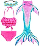 Garlagy 3 Pcs Girls Swimsuit Mermaid Tails for Swimming Bikini Set Bathing Suit Swimmable Can Add Monofin for 3-14Y (9-10/Ht:51-54in(tag 140), A-Cyan Pink Ruffled)