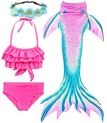 Garlagy 3 Pcs Girls Swimsuit Mermaid Tails for Swimming Bikini Set Bathing Suit Swimmable Can Add Monofin for 3-14Y (10-12/Ht:55-60in(tag 150), A-Cyan Pink Ruffled)