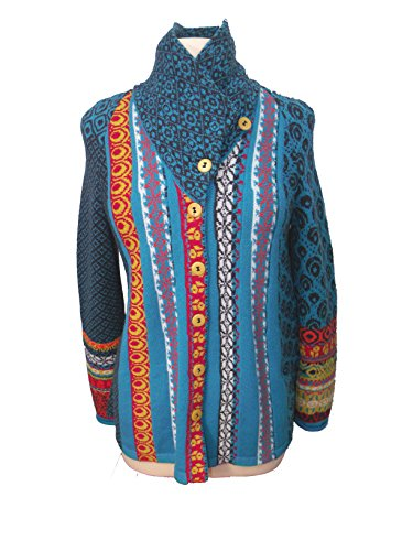 IVKO Short Lambswool Jacket wth Geometric Pattern, Front Button Closure, Multi-color, US 12 - EUR 42 by IVKO