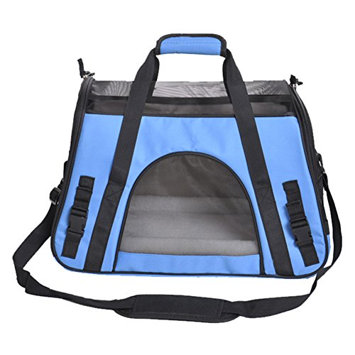 Soyan Deluxe Pet Travel Carrier, Airline Approved, Soft Side, Suitable for Cats and Small Dogs, Comes with Shoulder Strap (L, Blue)