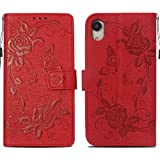 Case Compaitible with iPhone Xr, Flip Leather Wallet Flower Pattern Cover for iPhone Xr (Red, iPhone Xr 6.1'')
