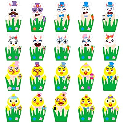 Ticiaga 20 Sets of Easter Egg Decorating Craft Kit, Including 10 Sheets Make-a-face Stickers and 180pcs Foam Stickers, Easter Bunny and Chick Foam Ornament Stickers for Egg Decor, DIY Your Easter Egg: Toys & Games