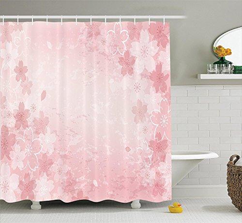 [House Decor Shower Curtain Set Cherry Blooms Pattern Shabby Chick Style Decorative Flourish Fashionable Artwork Bathroom Accessories] (Chick Magnet Costume Walmart)