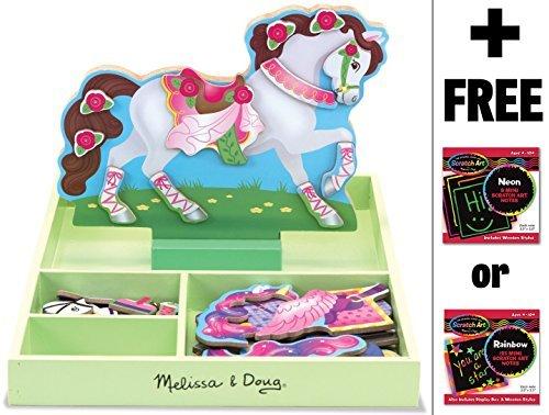 Melissa & Doug My Horse Clover - Magnetic Dress Up Wooden Doll & Stand & 1 Scratch Art Mini-Pad Bundle (08591) by Melissa & Doug