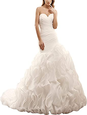 Womens Sweetheart Mermaid Wedding Dresses for Bride 2020 Organza Ruffles Bridal Gowns