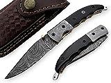Folding Knife Buffalo Horn Handle Damascus Steel Blade