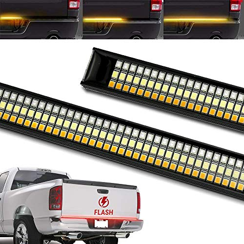 Syneticusa 60 TRIPLE 1200 LED Tailgate Light Bar Strobe Flashing Brake +Sequential Amber Turn Signal - 1,200 LED Solid Beam - Weatherproof No Drill Install
