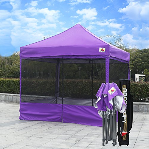 ABCCANOPY 10×10 Ez Pop up Canopy Party Tent With Netting COMMERCIAL Instant Gazebo With Screen Walls (Purple)