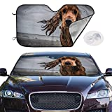 ghkfgkfgk Car Windshield Sun Shade UV Ray Heat Reflector Visor Protector Front Window Sunshade-Dogs Glance Spaniel Sadness