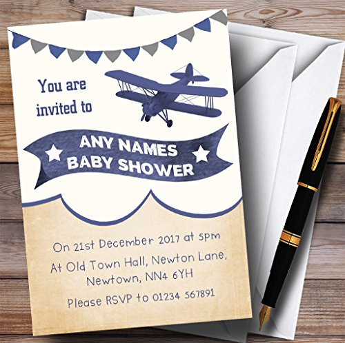 Vintage Plane Cloud Blue Invitations Baby Shower Invitations