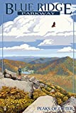 Blue Ridge Parkway - Peaks of Otter in Fall (12x18 Art Print, Wall Decor Travel Poster)