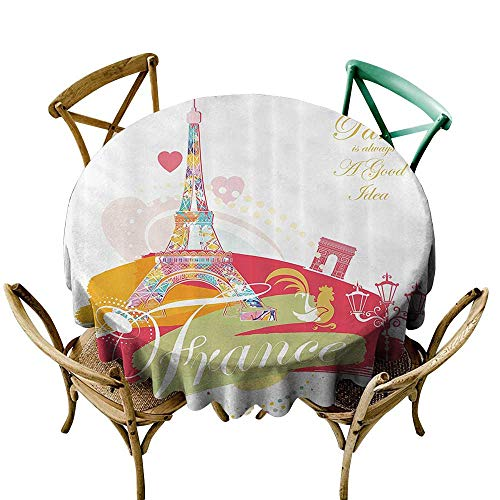 - Jbgzzm Dustproof Tablecloth Eiffel Tower Decor Collection Architectural Vintage Style Street Lamps Paris is Always a Good Idea Art Design Picnic D39 Pink Mustard