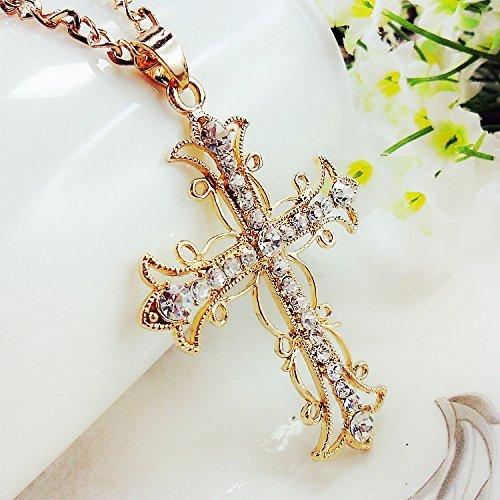 Rhinestone Cross Chain - Beautiful Bead Bling Rhinestones Diamond Cross Pendant Long Chain Stylish Necklace for Sweater