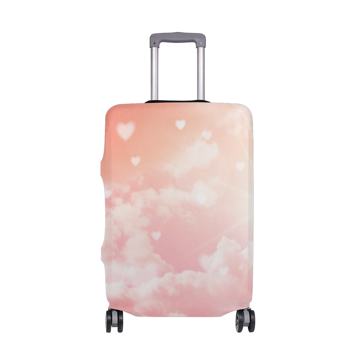 ALAZA Hearts Clouds Valentine's Day Wedding Luggage Cover Fits 24-26 Inch Suitcase Spandex Travel Protector M